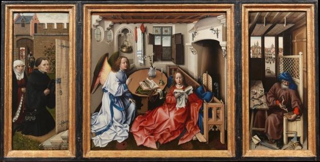 Annunciation Triptych (Merode Altarpiece), Met Museum 56.70a-c